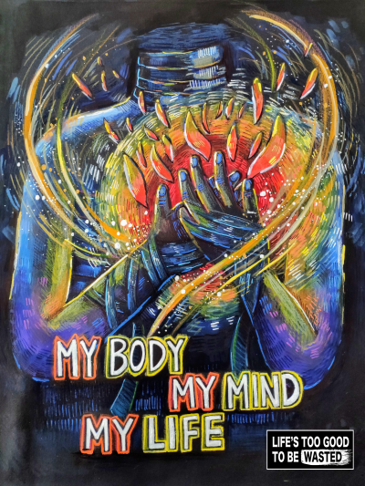 I want to represent people taking control of their own lives by understanding the significance of ourselves and our bodies. In order to not be controled by substances it is important that one realizes how important it is to love our bodies to not ruin it through drugs and through addiction. In artwork I chose a dark background and bright colors with the contrast against the background to represent coming out towards hope and darkness of substance abuse. Hope and love towards oneself is represented through the magical and fire elements. For me personally to stay substane free it is my self image and my awareness towards the harm substance abuse can bring to my daily life.